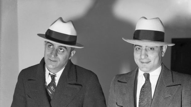 Infamous Mobsters: Philip Mangano (left) was best known as the consigliere or counselor to the Gambino crime family. Was this photo taken before Mangano was indicted for first degree murder in 1923? Dated circa 1920, the timing remains as elusive as Mangano's conviction.