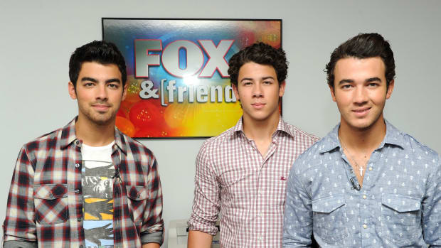 NEW YORK - AUGUST 16: (EXCLUSIVE) (L-R) Joe Jonas, Nick Jonas and Kevin Jonas of the Jonas Brothers visit 'FOX & Friends' at the FOX studios on August 16, 2010 in New York City.  (Photo by Andrew H. Walker/Getty Images) *** Local Caption *** Joe Jonas;Nick Jonas;Kevin Jonas