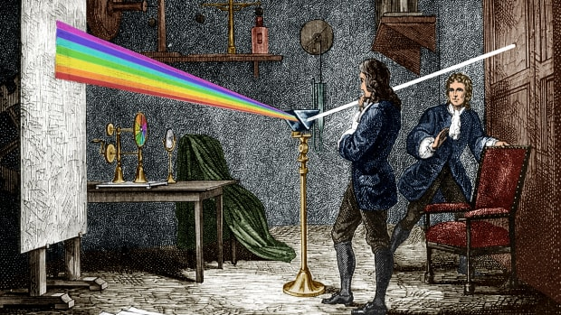 A drawing of Sir Isaac Newton dispersing light with a glass prism