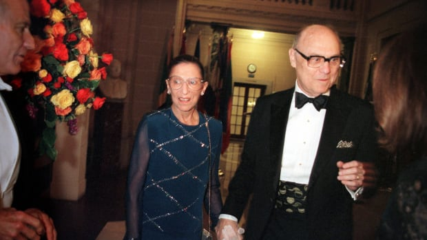 Ruth Bader Ginsburg and her husband John Ginsburg attend a gala opening night dinner following a Washington Opera performance Oct 21, 2000