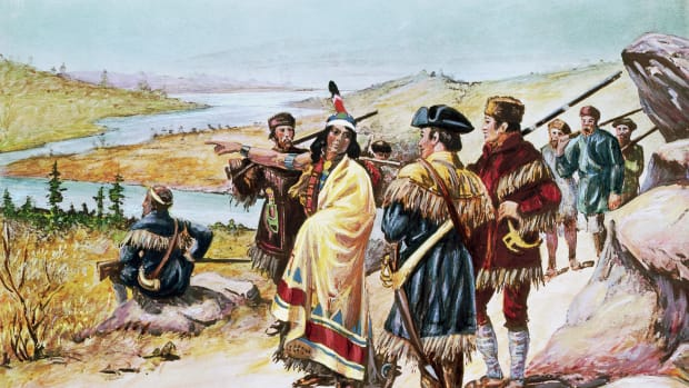 Lewis and Clark expedition - Sacajawea guiding the expedition from Mandan through the Rocky Mountains