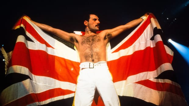 Queen plays Knebworth, the last concert on the Magic Tour on August 09, 1986 in Knebworth, United Kingdom.