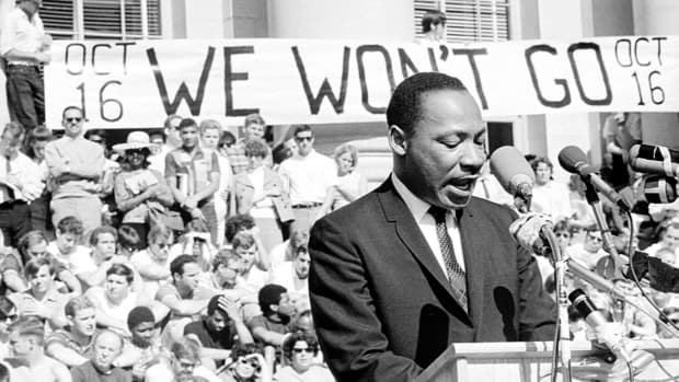 Martin Luther King, Jr. delivers a speech to a crowd of approximately 7,000 people on May 17, 1967 at UC Berkeley's Sproul Plaza in Berkeley, California