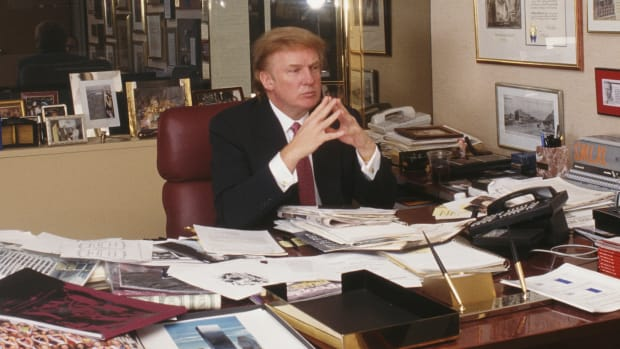 Donald Trump in his Trump Tower Offie in 1999