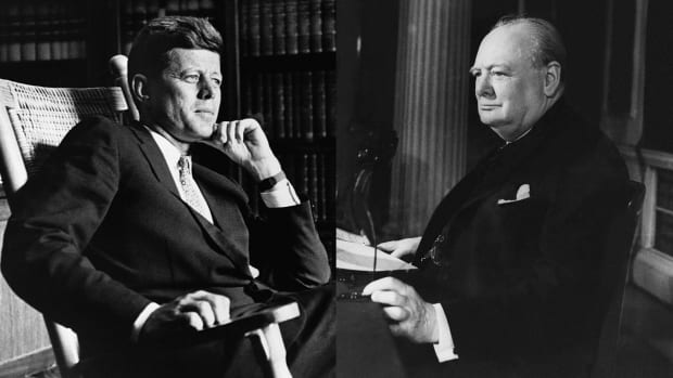John F. Kennedy and Winston Churchill