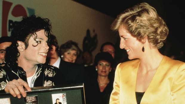 Michael Jackson and Princess Diana at his concert for the Prince's Trust at Wembley, London, July 1988