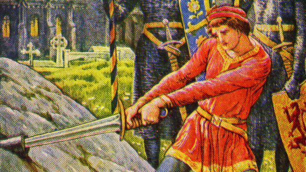 King Arthur pulls the sword from the stone, by Walter Crane