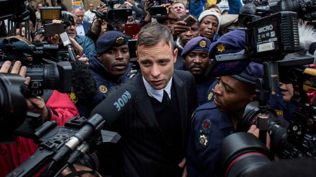 Oscar Pistorius leaves the North Gauteng High Court on June 14, 2016 in Pretoria, South Africa