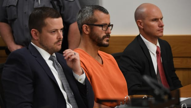 Chris Watts in court for his arraignment hearing at the Weld County Courthouse on August 21, 2018, in Greeley, Colorado