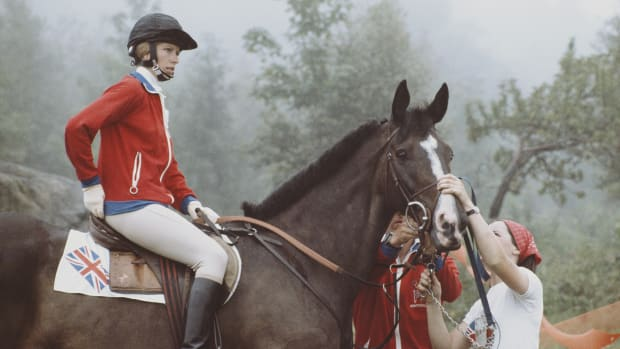 Princess Anne aboard Goodwill during the Mixed Three-Day Event Team Cross-Country at the XXI Olympic Summer Games on July 24, 1976 at the Olympic Equestrian Centre, Bromont, Québec, Canada