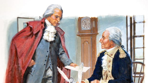 A painting depicting President George Washington (seated) asking Alexander Hamilton to be the first United States Secretary of the Treasury in September 1789 in New York City, New York.