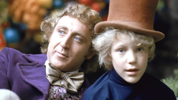 Gene Wilder as Willy Wonka and Peter Ostrum as Charlie Bucket on the set of the fantasy film 'Willy Wonka & the Chocolate Factory