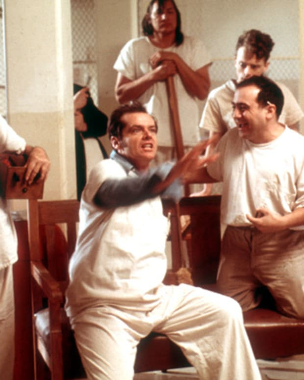 Jack Nicholson Photo Gallery: Cuckoo Time. Nicholson in a scene from the 1975 Milos Forman film One Flew Over the Cuckoo's Nest.