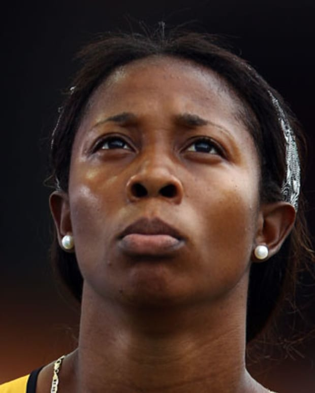 DAEGU, SOUTH KOREA - AUGUST 28:  Shelly-Ann Fraser - Pryce of Jamaica looks on after competing in the women's 100 metres heats during day two of the 13th IAAF World Athletics Championships at the Daegu Stadium on August 28, 2011 in Daegu, South Korea.  (Photo by Mark Dadswell/Getty Images)