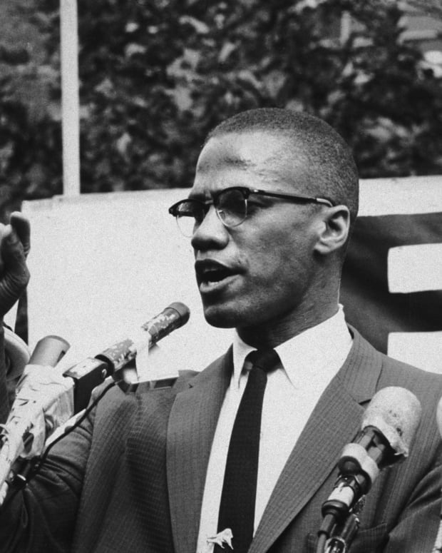 Civil Rights Activists: Known for his Islamic ideals and radical approach to equality during the Civil Rights Movement, Malcolm X speaks passionately to a crowd in 1963.  (Photo by Bob  Parent/Hulton Archive/Getty Images)