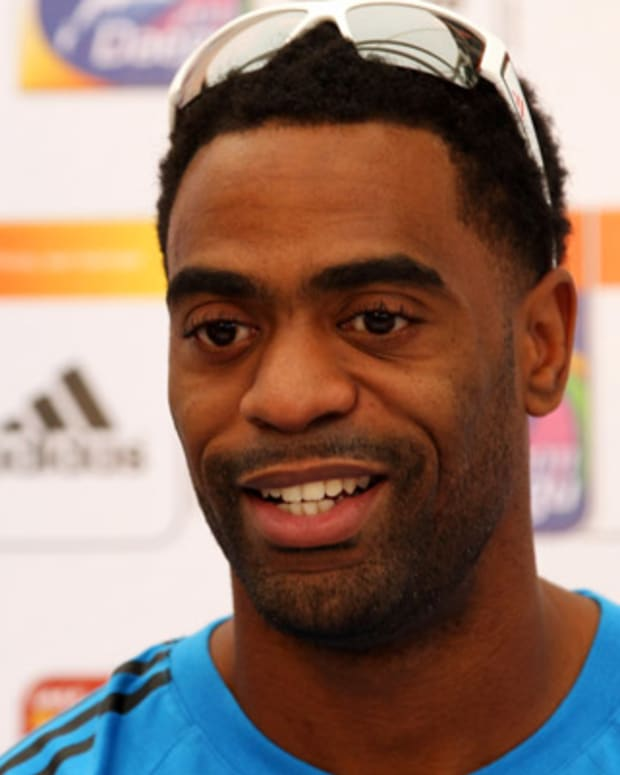 DAEGU, SOUTH KOREA - AUGUST 25:  Tyson Gay of United States speaks to the media during a press conference in the adidas PR Lounge ahead of the IAAF World Athletics Championships Daegu 2011 at Daegu Stadium on August 25, 2011 in Daegu, South Korea.  (Photo by Chris McGrath/Getty Images)