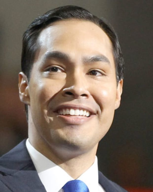 Julian Castro, San Antonio mayor, waves before at  the first session of the Democratic National Convention in Charlotte, N.C. on Sept. 4, 2012. The 37-year-old mayor was the first Hispanic to deliver a keynote speech at the convention.   ( The Yomiuri Shimbun via AP Images )