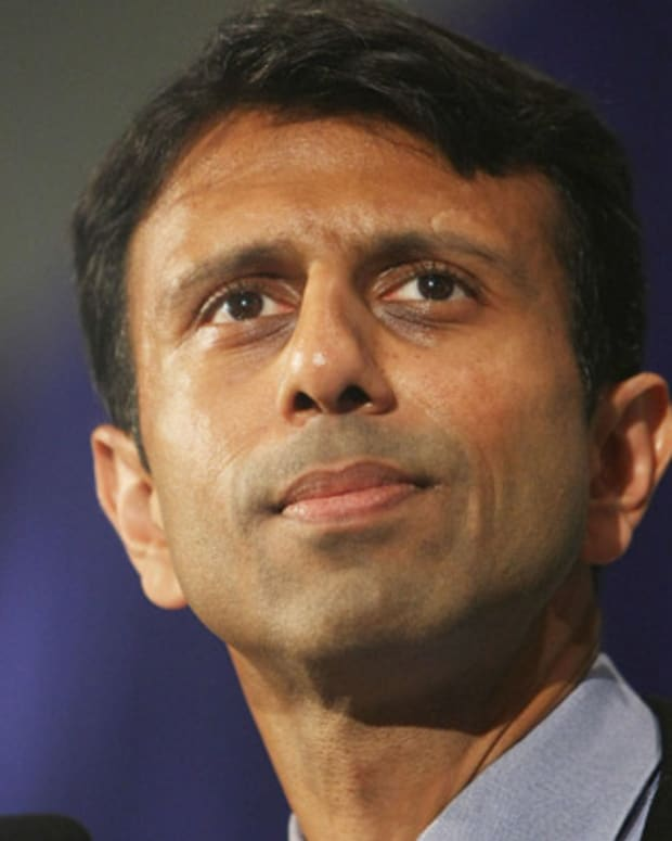KENNER, LA - JUNE 03:  Louisiana Gov. Bobby Jindal speaks at an event with Republican presidential candidate John McCain at Pontchartrain Center June 3, 2008 in Kenner, Louisiana. The Arizona senator was speaking on the night that Sen. Barack Obama (D-IL) secured the Democratic nomination for president.  (Photo by Mario Tama/Getty Images)
