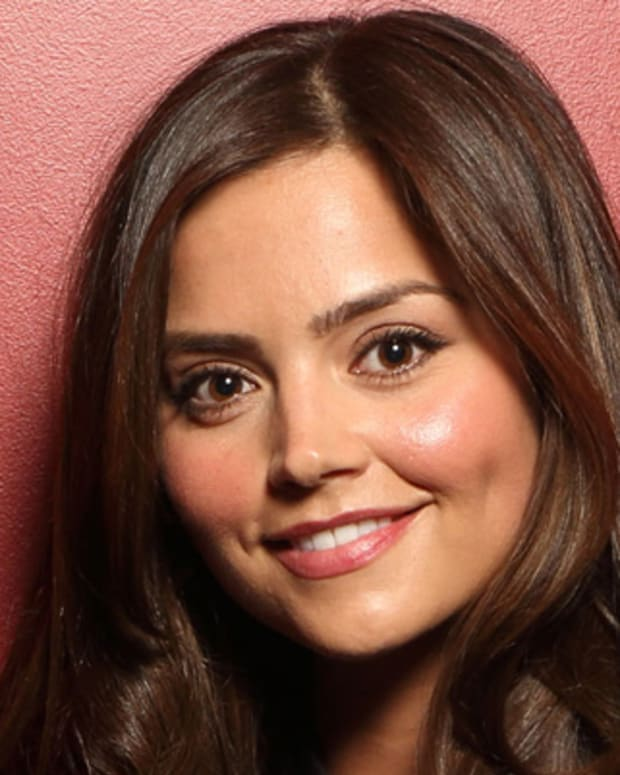 LONDON, ENGLAND - FEBRUARY 06:  (EXCLUSIVE COVERAGE) Jenna Coleman poses in the portrait studio at the Pre-Bafta party hosted by EE and Esquire ahead of the 2013 EE British Academy Film Awards at The Savoy Hotel on February 6, 2013 in London, England.  (Photo by Mike Marsland/WireImage)