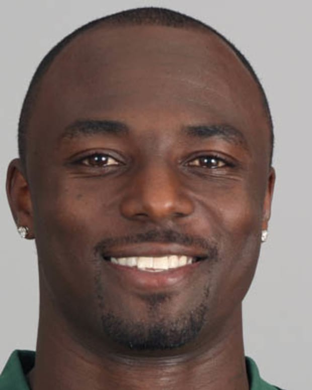 FLORHAM PARK, NJ - CIRCA 2011: In this handout image provided by the NFL, Santonio Holmes of the New York Jets poses for his NFL headshot circa 2011 in Florham Park, New Jersey. (Photo by NFL via Getty Images)