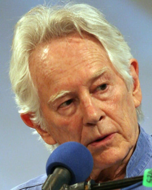 PRAGUE, CZECH REPUBLIC - JUNE 1:  American writer Michael McClure speaks at a gala evening of the 18th Prague Writers Festival at the Theatre Minor on June 1, 2008, in Prague, Czech Republic.  (Photo by Hana Kalvachova/isifa/Getty Images) *** Local Caption *** Michael McClure