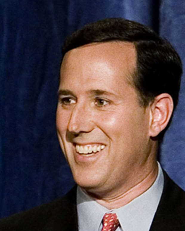 PHILADELPHIA - OCTOBER 16:  Senator Rick Santorum (R-PA) gestures while speaking during his Pennsylvania Senatorial Debate with Democratic Challenger Bob Casey at the National Constitution Center on October 16, 2006 in Philadelphia, Pennsylvania. According to reports, Casey is leading Santorum in independent polls, with less than a month before the November 7th election.  (Photo by Jeff Fusco/Getty Images)