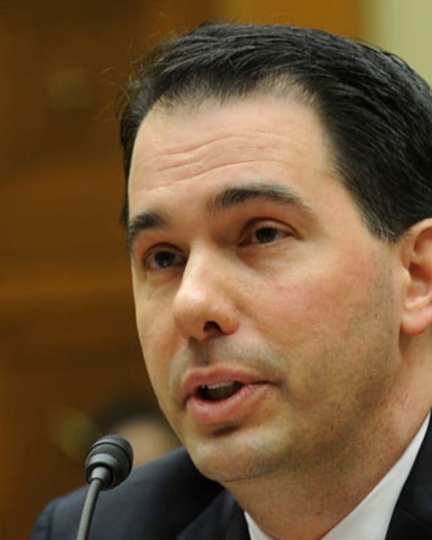 Wisconsin Governor Scott Walker testifies before the House Committee on Oversight and Government Reform on 'State and Municipal Debt: Tough Choices Ahead' at the Rayburn House office building on Capitol Hill April 14, 2011 in Washington, D.C. (Astrid Riecken/MCT via Getty Images)
