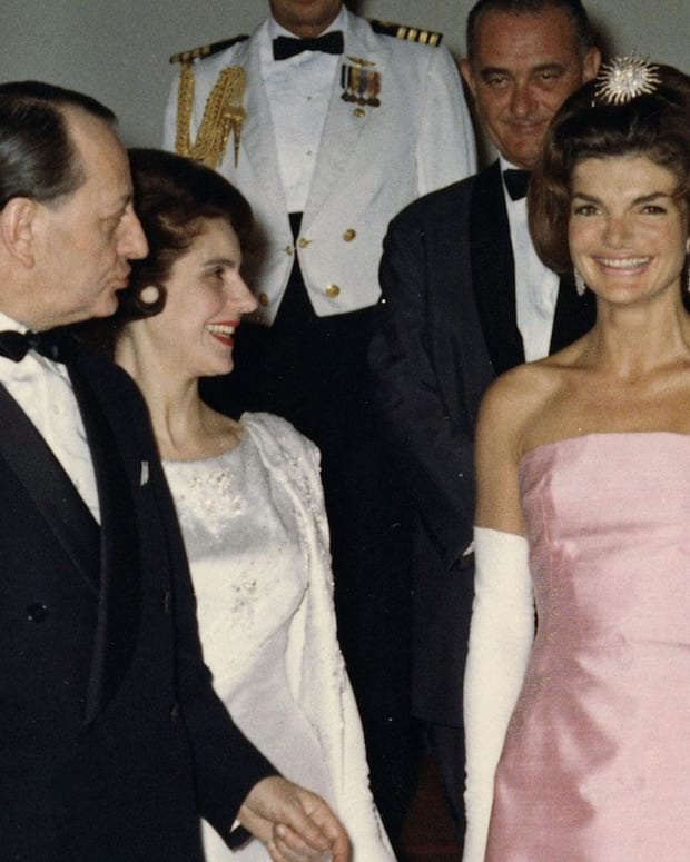 The President and Mrs. Kennedy attend a dinner May 11, 1962 in honor of Minister of State for Cultural Affairs of France, Andre Malroux, left.