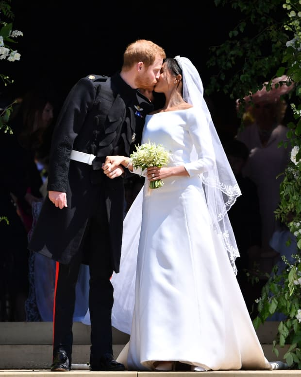 Prince Harry and Meghan Markle kissing on their wedding day