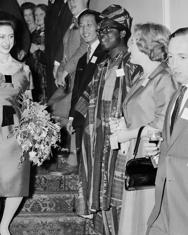 Princess Margaret attending a cocktail party at Victoria League House in Chesham Place, London