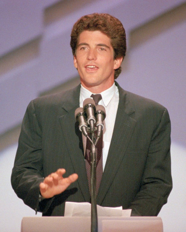 John F. Kennedy Jr., son of the late President Kennedy speaking at the 1988 Democratic National Convention. John was introducing his uncle, Senator Edward Kennedy.