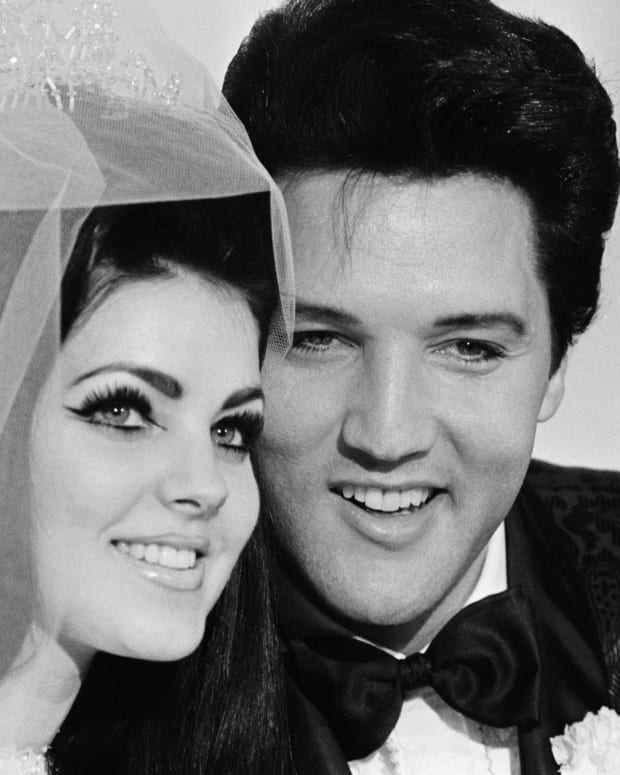 Elvis Presley and Priscilla on their wedding day