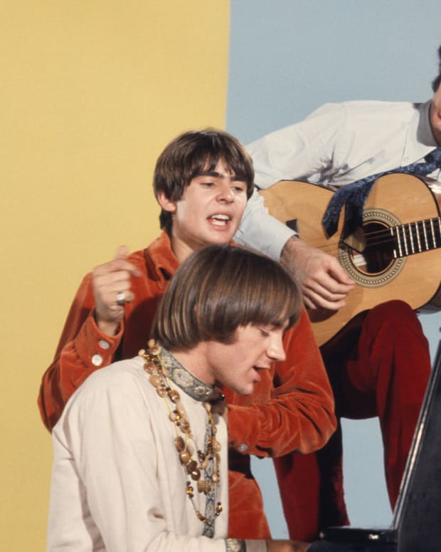 Davy Jones, Micky Dolenz, Peter Tork and Mike Nesmith on the set of the television show The Monkees in August 1967 in Los Angeles, California.
