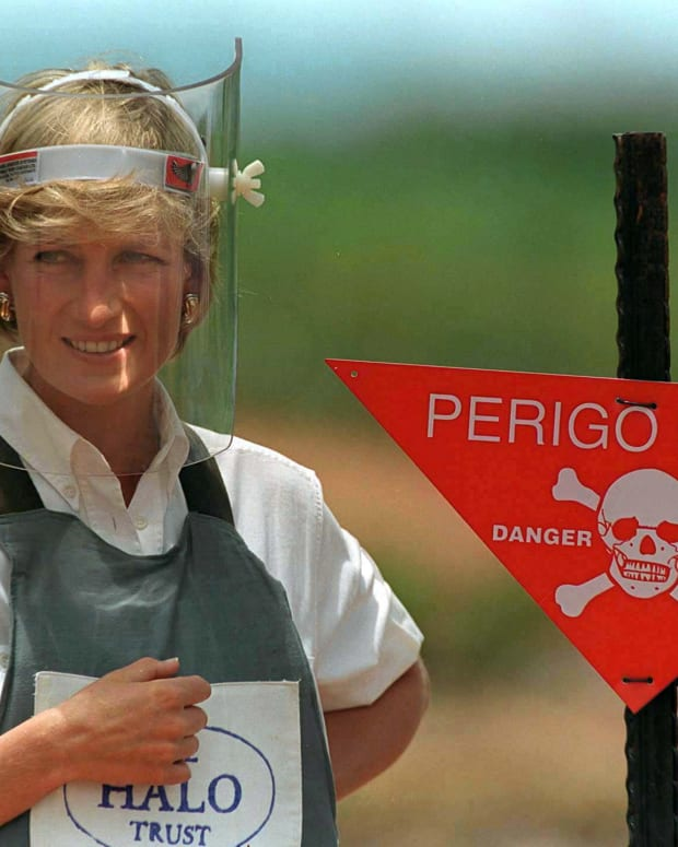 Princess Diana visting a minefield