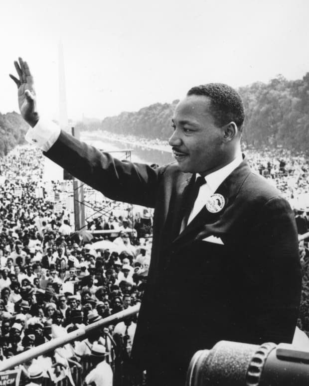 Martin Luther King addresses crowds during the March On Washington at the Lincoln Memorial, Washington DC, where he gave his 'I Have A Dream' speech