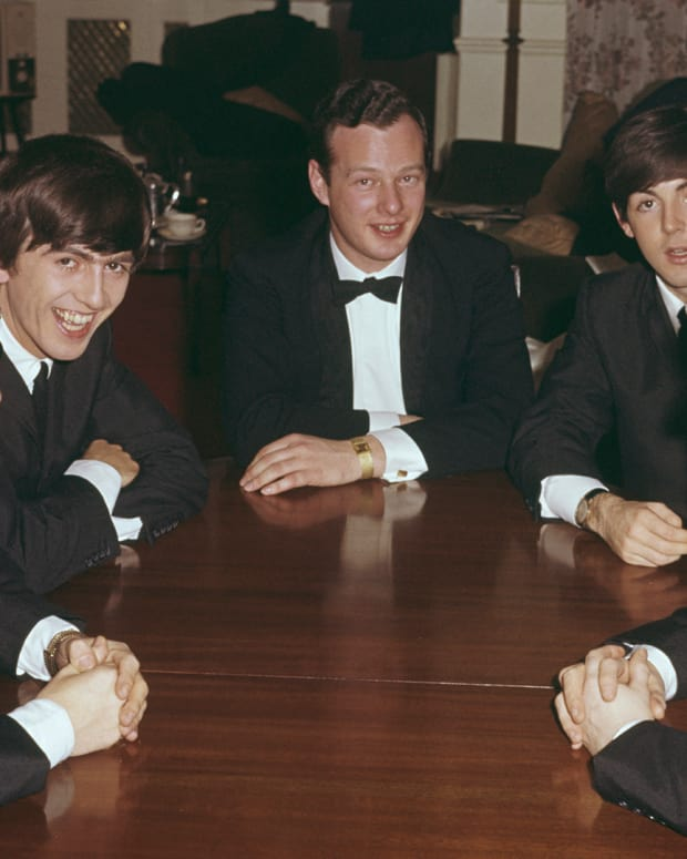 Ringo Starr, George Harrison, Brian Epstein, Paul McCartney and John Lennon