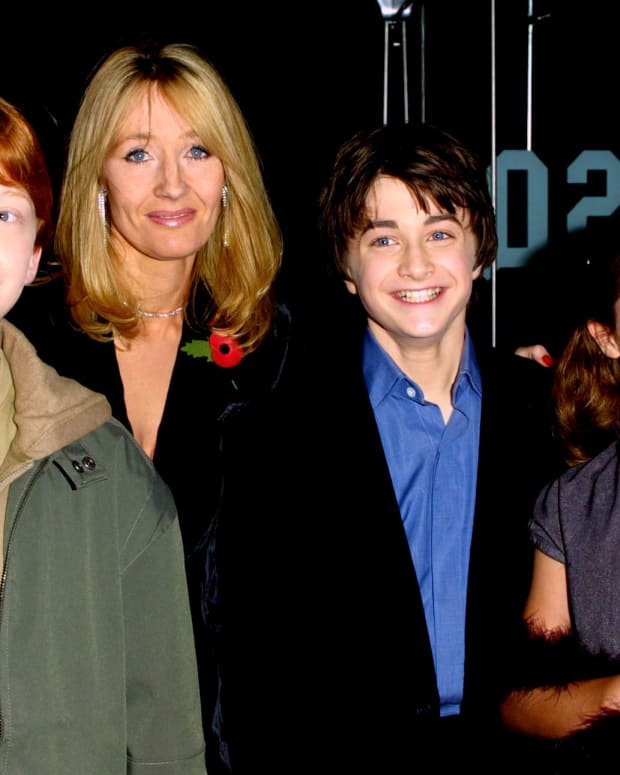 J.K. Rowling with Rupert Grint, Daniel Radcliffe and Emma Watson