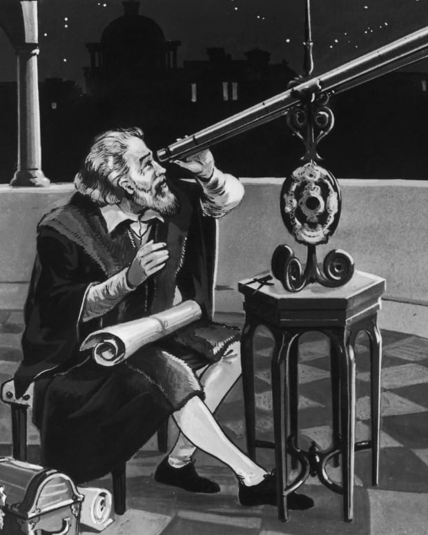 Galileo using a telescope