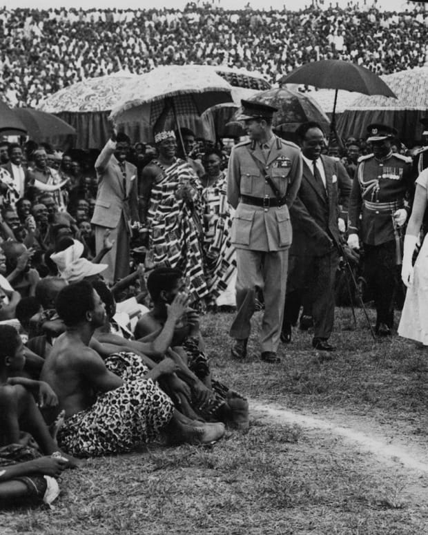 Queen Elizabeth II and the Duke of Edinburgh at Kumasi Sports Stadium (Baba Yara Stadium) in Kumasi, during their Commonwealth Visit to Ghana, 16th November 1961