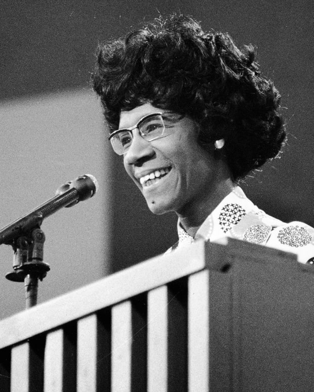 Shirley Chisholm speaks at a podium at the Democratic National Convention, Miami Beach, Florida, July 1972.