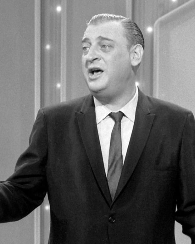 Rodney Dangerfield performing on an episode of 'The Ed Sullivan Show'