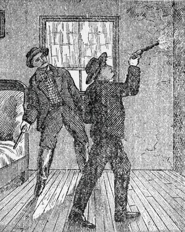 Woodcut Illustration of Robert Ford Shooting Jesse James