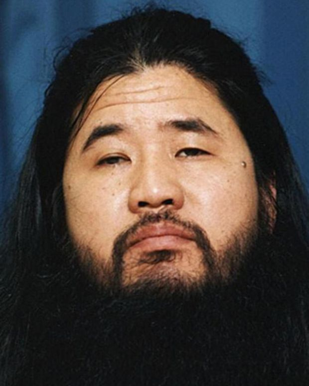 TOKYO, JAPAN:  (FILES) This photo dated October 1990 shows Shoko Asahara, guru of the doomsday cult Aum Supreme Truth.  The eight-year-long trial of cult leader Asahara to scheduled to come to a conclusion 27 February 2004, despite the lack of testimony by the man considered by most Japanese responsible for the 1995 nerve gas attack on the Tokyo subway which killed 12, injured 5,000 and made the nightmare of unleashing a weapon of mass destruction on the public a reality.     AFP PHOTO/JIJI PRESS/FILES  (Photo credit should read AFP/AFP/Getty Images)