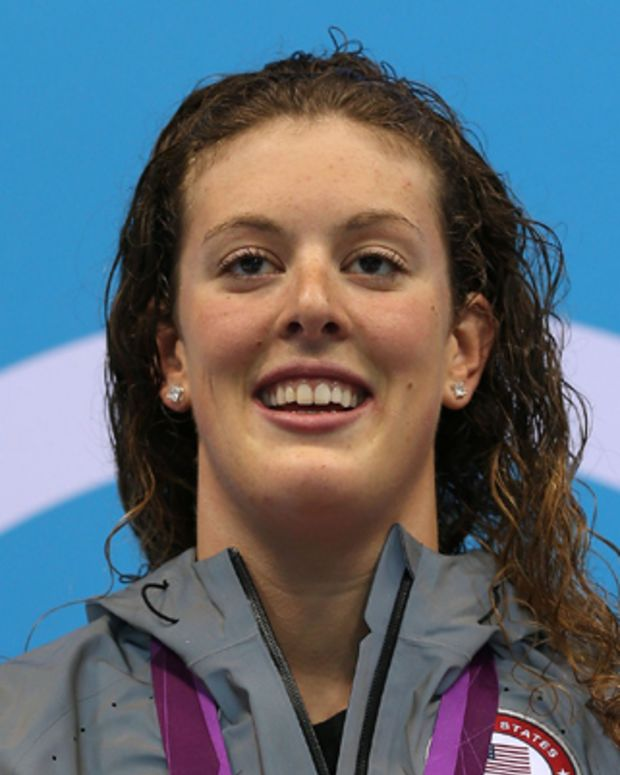 LONDON, ENGLAND - JULY 31:  Gold medallist Allison Schmitt of the United States poses on the podium during the medal ceremony for the Women's 200m Freestyle final on Day 4 of the London 2012 Olympic Games at the Aquatics Centre on July 31, 2012 in London, England.  (Photo by Clive Rose/Getty Images)