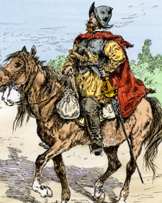 Spanish conquistador in armor on horseback, New Spain, 1500s.Hand-colored woodcut of a 19th-century illustration. (North Wind Picture Archives via AP Images)