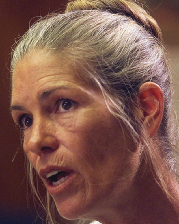 CORONA, CA - JUNE 28:  Leslie Van Houten expresses remorse in the killings of the LaBianca couple to members of the Board of Prison Terms commissioners during her parole hearing 28 June 2002 at the California Institution for Women in Corona, Califonia. Van Houten, 52, who has served over 30 years in prison for her involvement in the Tate-La Bianca killings, was denied parole.  (Photo credit should read DAMIAN DOVARGANES/AFP/Getty Images)
