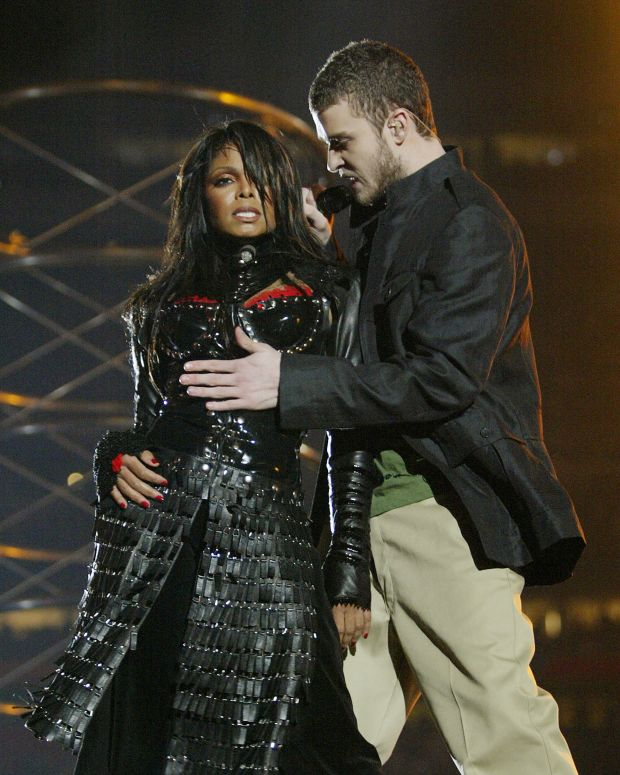 Super Bowl Halftime Performers: Pop superstar Janet Jackson—and surprise guest Justin Timberlake—stole the show at Super Bowl XXXVIII. The duo created controversy when a piece of Jackson's outfit, which was designed for Timberlake to tear off at the end of the song, revealed a bit more of Jackson's body than was originally planned.