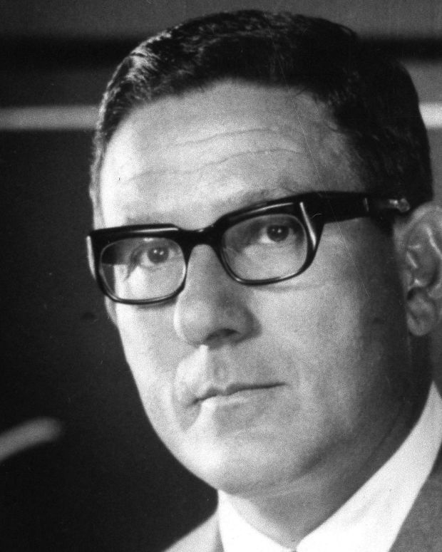James J. Ling, chairman of Ling-Temco-Vought, Inc. near Dallas, told a business conference in Chicago, April 17, 1969. (AP Photo) that his company will recommend a 2 percent merger tax to Congress. (AP Photo)