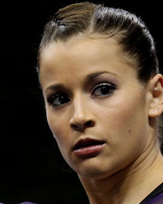 ST PAUL, MN - AUGUST 20:  Alicia Sacramone during the Senior Women's competition on day four of the Visa Gymnastics Championships at Xcel Energy Center on August 20, 2011 in St Paul, Minnesota.  (Photo by Ronald Martinez/Getty Images) *** Local Caption *** Alicia Sacramone