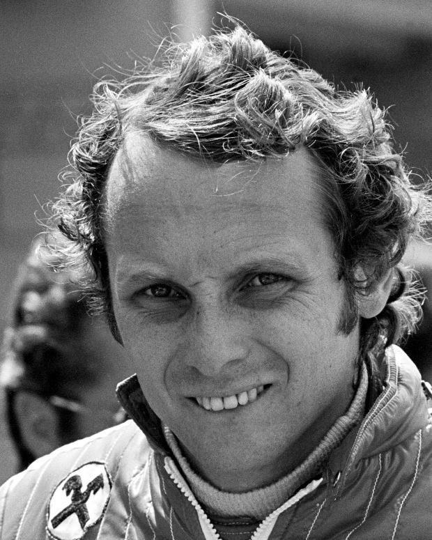 Ferrari driver Niki Lauda at the Dutch Grand Prix, Zandvoort, 22nd June  1975. He started from pole but finished one second behind James Hunt?s ever more competitive Hesketh. (Photo by Snowdon/Klemantaski Collection/Getty Images)